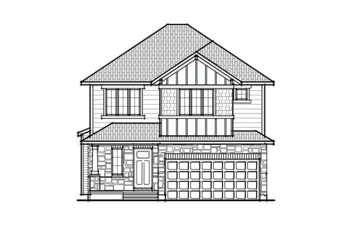 Devonshire 2 - A1 Canadiana Elevation - 2,212 sqft, 4 Bedroom, 2.5 Bathroom - Cardel Homes Ottawa
