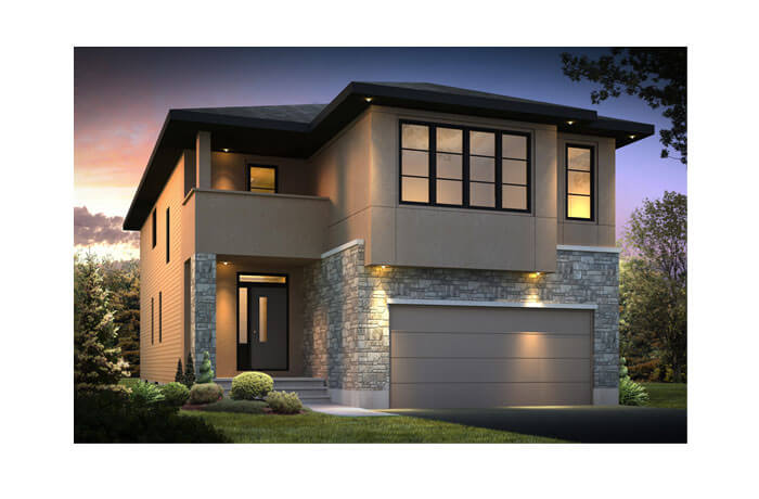 North Hampton - A5 Modern Prairie Elevation - 2,413 sqft, 3 - 4 Bedroom, 2.5 Bathroom - Cardel Homes Ottawa