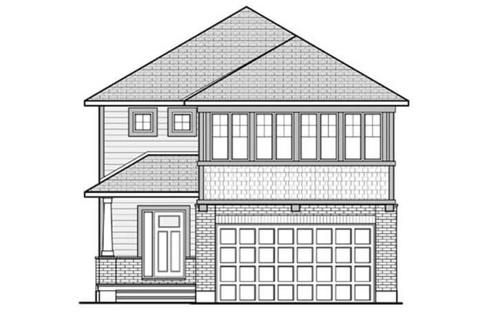 North-Hampton-B1-Canadiana Elevation - 2,433 sqft, 3 - 4 Bedroom, 2.5 - 3.5 Bathroom - Cardel Homes Ottawa