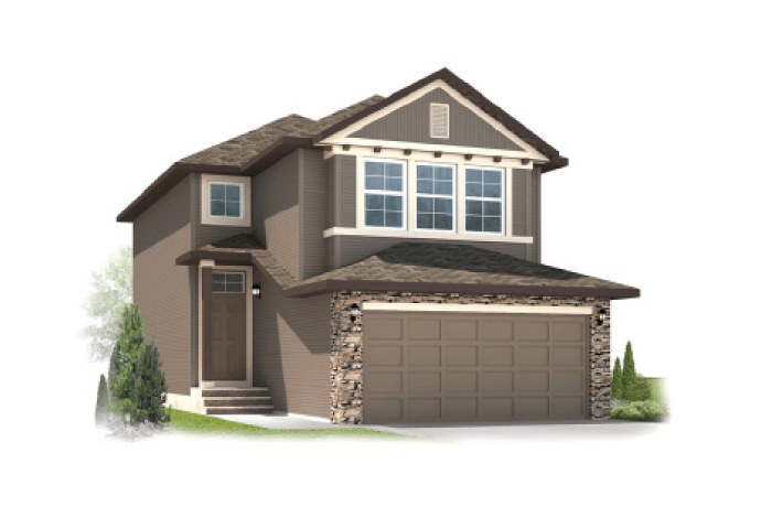 Orleans 2 - Traditional A4 Elevation - 1,787 sqft, 3 Bedroom, 2.5 Bathroom - Cardel Homes Calgary