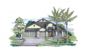 Kingfisher 1 - Elevation B Elevation - 2,357 sqft, 4 Bedroom, 2 Bathroom - Cardel Homes Tampa
