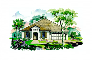 Avalon - Mediterranean Elevation - 2,200 sqft, 3 Bedroom, 2.5 Bathroom - Cardel Homes Tampa