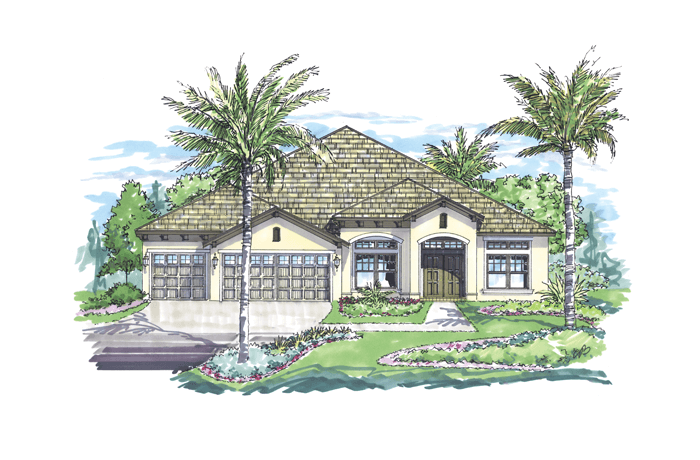 Meadowbrook - Elevation A Elevation - 3,136 sqft, 4 Bedroom, 3 Bathroom - Cardel Homes Tampa
