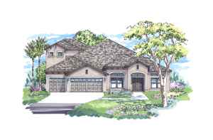 Meadowbrook - Elevation A with Option 1 Elevation - 3,136 sqft, 4 Bedroom, 3 Bathroom - Cardel Homes Tampa