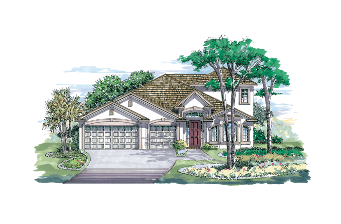 Kingfisher 3  LWR - Elevation C Elevation - 2,983 sqft, 4 Bedroom, 2.5 Bathroom - Cardel Homes Tampa