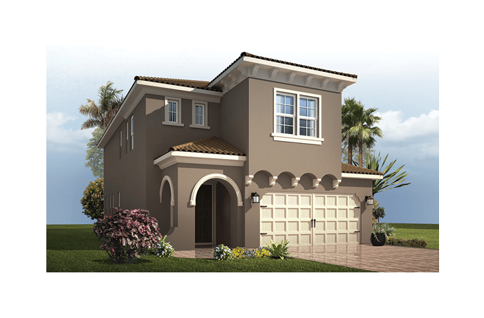 Palmetto 2 - Mediterranean Elevation - 2,800 - 2,855  sqft, 4 - 6 Bedroom, 2.5 - 4.5 Bathroom - Cardel Homes Tampa