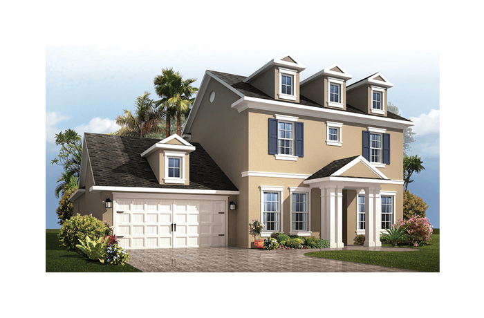 Endeavor 2 Renderings - Colonial Elevation - 2,848 - 3,453 sqft, 3 - 5 Bedroom, 2.5 - 4 Bathroom - Cardel Homes Tampa