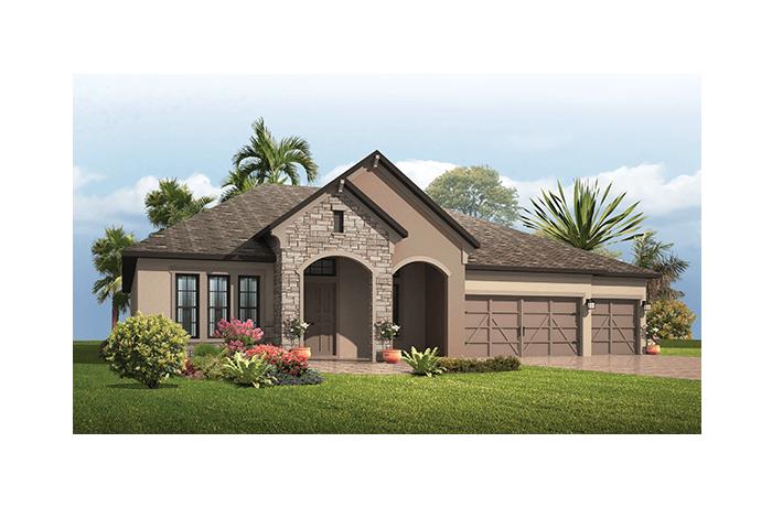 Grand Cayman - European Cottage Elevation - 3,032 - 3,432  sqft, 4 - 5 Bedroom, 3 - 4 Bathroom - Cardel Homes Tampa