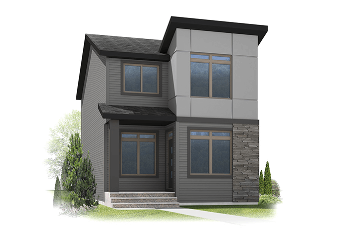 Aydon - Urban Modern F3 Elevation - 1,621 sqft, 3 Bedroom, 2.5 Bathroom - Cardel Homes Calgary