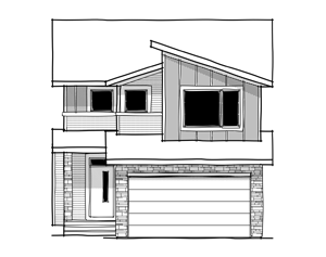 Tandem Bay 2 - Eichler F1 Elevation - 2,368 sqft, 4 Bedroom, 2.5 Bathroom - Cardel Homes Calgary
