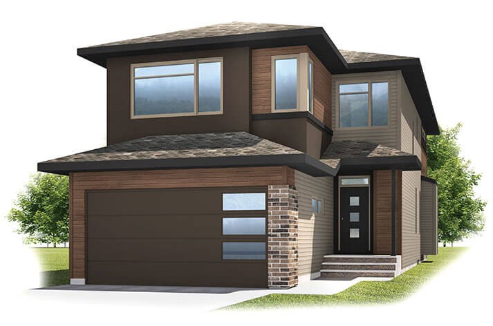 Tandem Bay 2 - Modern F3 Elevation - 2,368 sqft, 4 Bedroom, 2.5 Bathroom - Cardel Homes Calgary