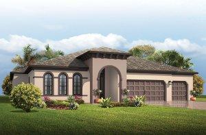 Antigua - Mediterranean Elevation - 3,547 - 3,551 sqft, 4 - 5 Bedroom, 3 Bathroom - Cardel Homes Tampa