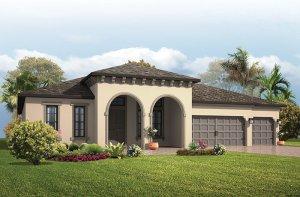 Grand Cayman - Mediterranean Elevation - 3,032 - 3,432  sqft, 4 - 5 Bedroom, 3 - 4 Bathroom - Cardel Homes Tampa