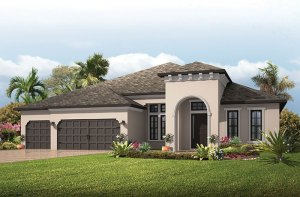 St. Lucia - Mediterranean Elevation - 3,336 sqft, 4 - 5 Bedroom, 3 Bathroom - Cardel Homes Tampa