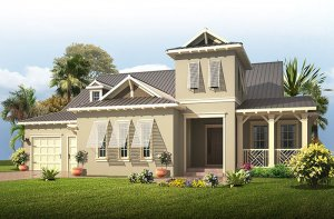 Wilshire MB - British West Indies Elevation - 2,989 - 3,170 sqft, 4 Bedroom, 3 Bathroom - Cardel Homes Tampa
