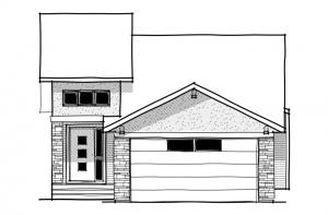 BRISTOL-2-Urban-Modern-F1 Elevation - 1,386 sqft, 1 Bedroom, 1.5 Bathroom - Cardel Homes Calgary