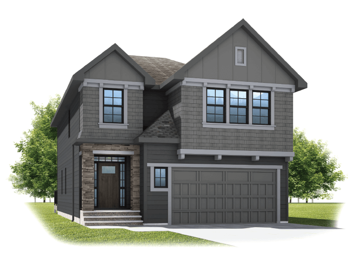Selkirk 2 - Shingle S1 Elevation - 2,788 sqft, 4 Bedroom, 2.5 Bathroom - Cardel Homes Calgary