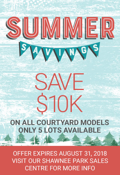 Shawnee Park Summer Savings Event - save $10,000 on all courtyard models