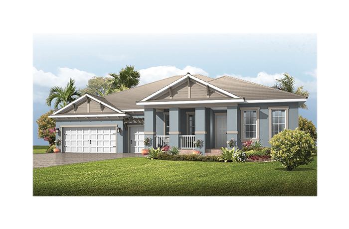 Fairwind - Coastal Cottage Elevation - 2,482 - 2,710 sqft, 3 - 4 Bedroom, 2.5 - 3 Bathroom - Cardel Homes Tampa