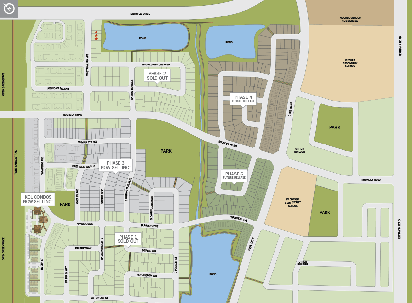 Single home community lot map of Blackstone in Kanata South, Ottawa by Cardel Homes