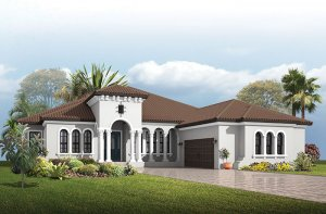 Dolcetto 4 - Italian Villa Elevation - 3,270 - 3,423 sqft, 3 Bedroom, 3 Bathroom - Cardel Homes Tampa
