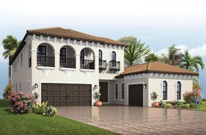 Palazzo - Italian Villa Elevation - 3,730 - 3,788 sqft, 3 - 5 Bedroom, 3 - 4 Bathroom - Cardel Homes Tampa