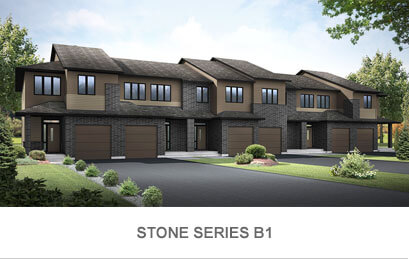Rendered image of Blackstone Town Home Stone Series B1 in Kanata South, Ottawa by Cardel Homes. Click image to view the floorplans