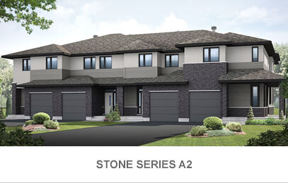 Rendered image of Blackstone Town Home Stone Series A2 in Kanata South, Ottawa by Cardel Homes. Click image to view the floorplans