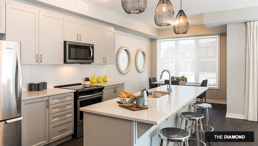 First image of kitchen in the Diamond unit of KoL condo in Blackstone, Ottawa by Cardel Homes