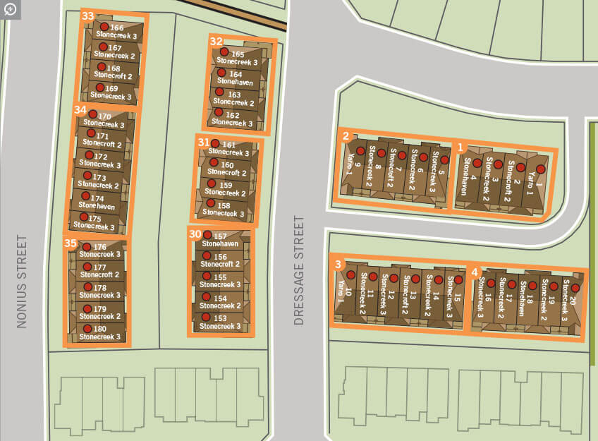 Phase 3 townhome site plan image of Blackstone, Kanata South in Ottawa by Cardel Homes. Click on image to open the print ready PDF version of site plan.