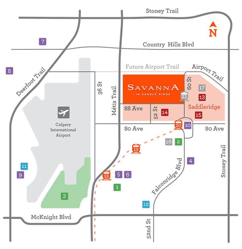 Savanna community map. Savanna is conveniently located in Northeast Calgary, east of the airport and south of Country Hills Boulevard