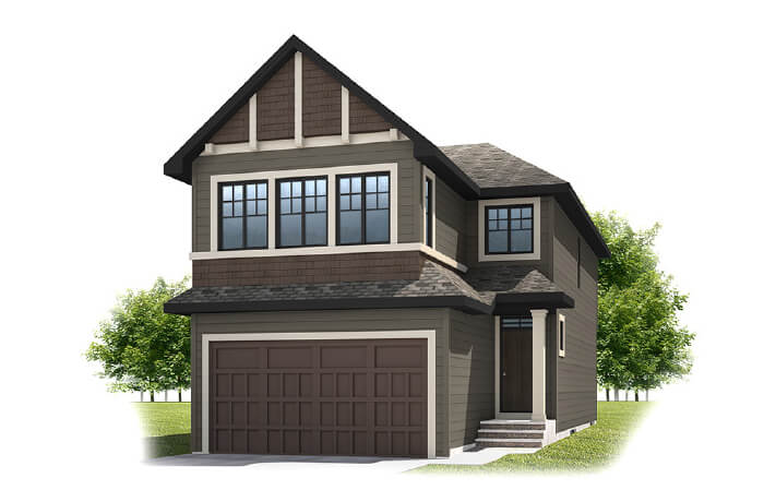 SIMCOE-SP2016 - Shingle S1 Elevation - 2,682 sqft, 4 Bedroom, 3.5 Bathroom - Cardel Homes Calgary
