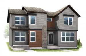 The INDIGO 1 - Urban Farmhouse A2 Elevation - 1,525 sqft, 3 Bedroom, 2.5 Bathroom - Cardel Homes Calgary