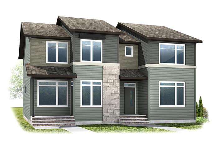 The INDIGO 2 - Urban Farmhouse A1 Elevation - 1,534 sqft, 3 Bedroom, 2.5 Bathroom - Cardel Homes Calgary