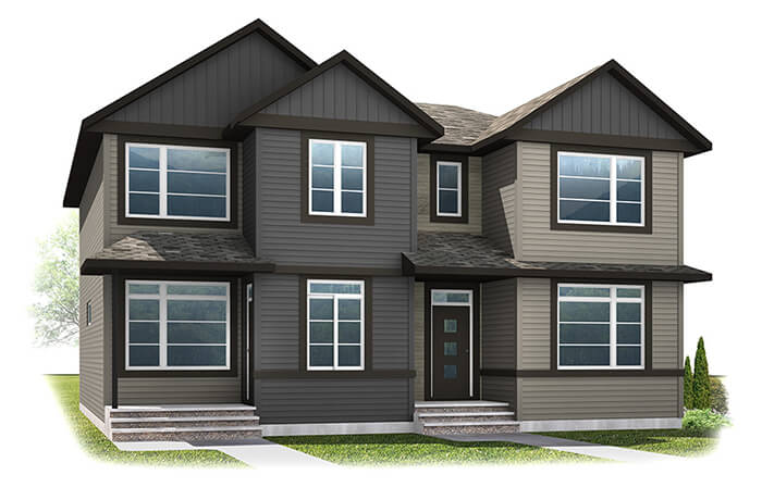 The SOHO 1 - Urban Craftsman A4 Elevation - 1,214 sqft, 3 Bedroom, 2.5 Bathroom - Cardel Homes Calgary