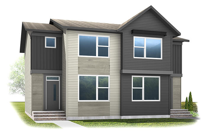 The SOHO 2 - Urban Farmhouse A5 Elevation - 1,203 sqft, 3 Bedroom, 2.5 Bathroom - Cardel Homes Calgary