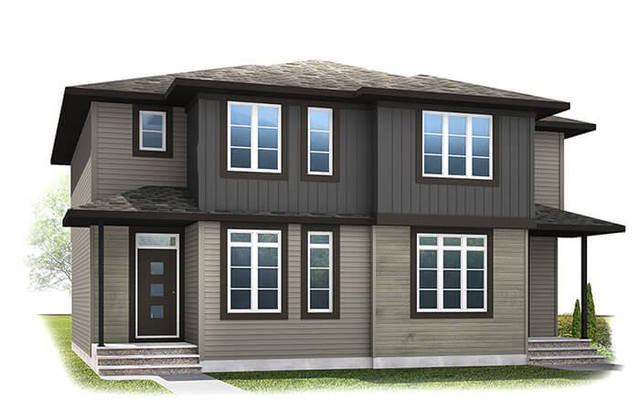 The COBALT 3 - Urban Prairie A6 Elevation - 1,360 sqft, 3 Bedroom, 2.5 Bathroom - Cardel Homes Calgary