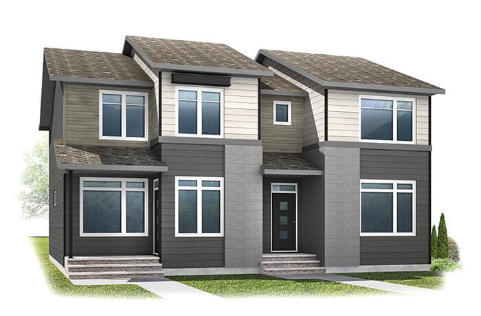 WP-INDIGO 2 - Eichler F1 Elevation - 1,534 sqft, 3 Bedroom, 2.5 Bathroom - Cardel Homes Calgary