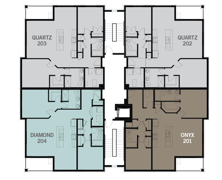 Second floor floorplate of KoL Condo in Blackstone, Ottawa by Cardel Homes