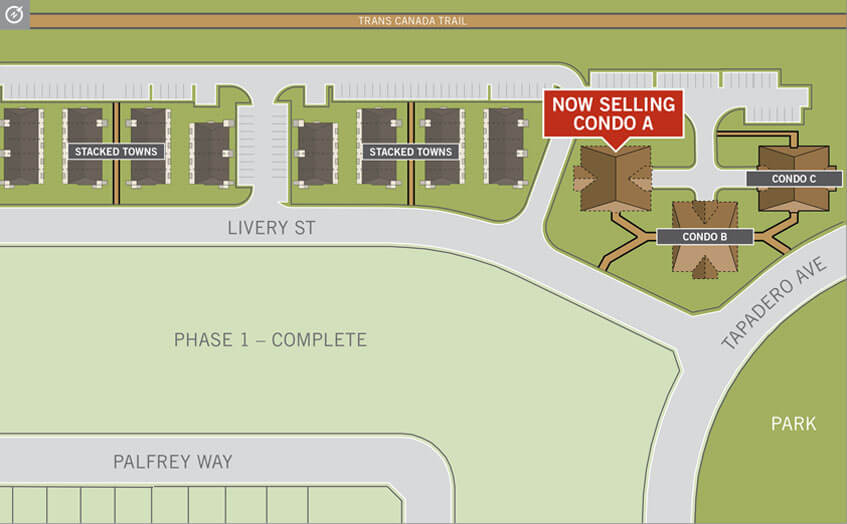 Condo ste plan for KoL condos in Blackstone, Ottawa by Cardel Homes. Now selling Condo Building A. Click image to download printable lot map and floorplate document