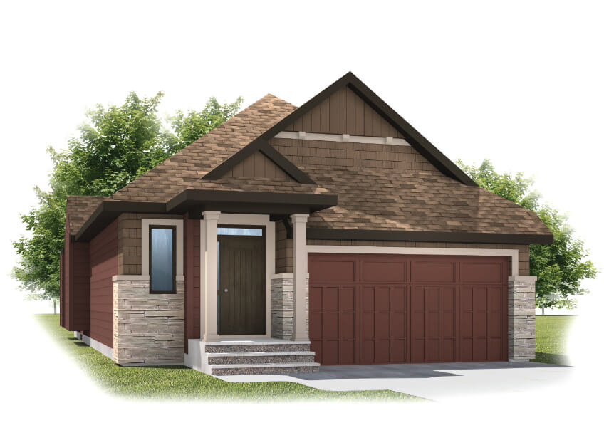 Cypress - Shingle S1 Elevation - 1,490 sqft, 2 Bedroom, 2 Bathroom - Cardel Homes Calgary