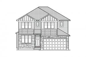 Cornell - A1 Canadiana Elevation - 2,130 sqft, 3 - 4 Bedroom, 2.5 Bathroom - Cardel Homes Ottawa