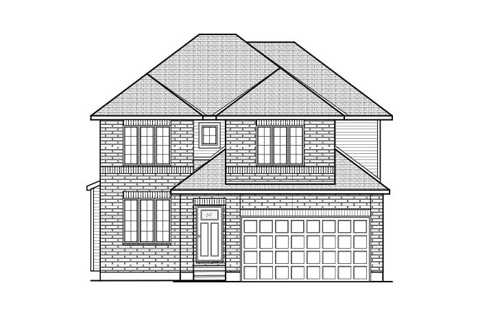 Cornell - A2 Traditional Elevation - 2,130 sqft, 3 Bedroom, 2.5 Bathroom - Cardel Homes Ottawa