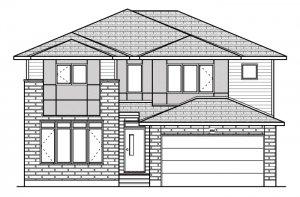 OXFORD - MCR PS - A3 Urban Modern Elevation - 2,552 sqft, 3 - 4 Bedroom, 2.5 Bathroom - Cardel Homes Ottawa