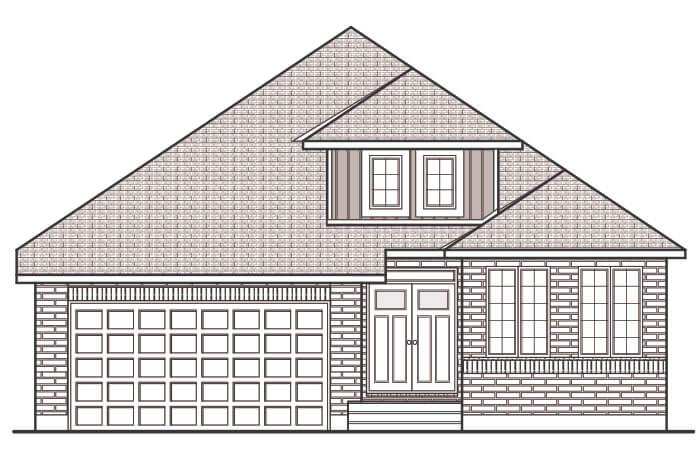 DECKER - MCR PS - A2 Traditional Elevation - 1,904 sqft, 2 Bedroom, 2 Bathroom - Cardel Homes Ottawa