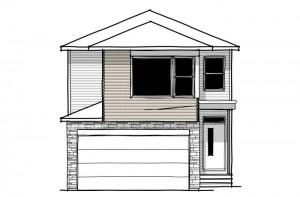 Sabal 2 - Urban Farmhouse A5 Elevation - 2,313 sqft, 4 Bedroom, 2.5 Bathroom - Cardel Homes Calgary