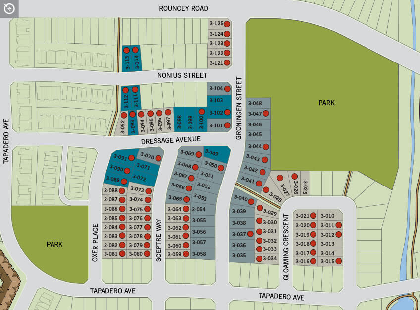 Phase 3 single home lot map of Blackstone in Kanata South, Ottawa by Cardel Homes