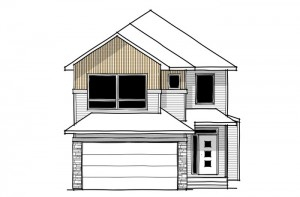 Aster - Urban Farmhouse F1 Elevation - 2,609 sqft, 4 Bedroom, 2.5 Bathroom - Cardel Homes Calgary
