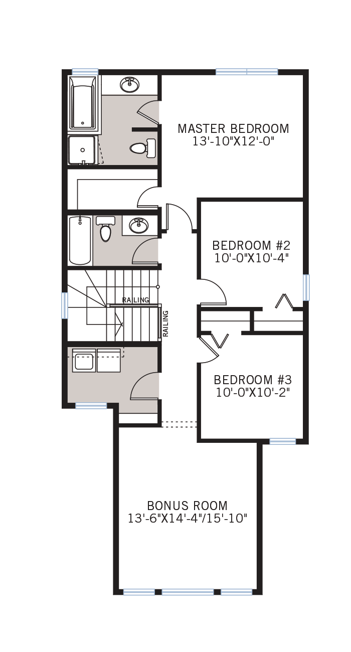 The Sandhurst 2 home upper floor quick possession in Walden, located at 44 Walgrove Gardens SE Calgary Built By Cardel Homes