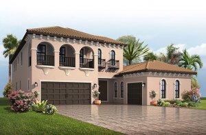 Palazzo - Italian Villa Elevation - 3,730 - 3,788 sqft, 3 - 5 Bedroom, 3 - 4 Bathroom - Cardel Homes Tampa